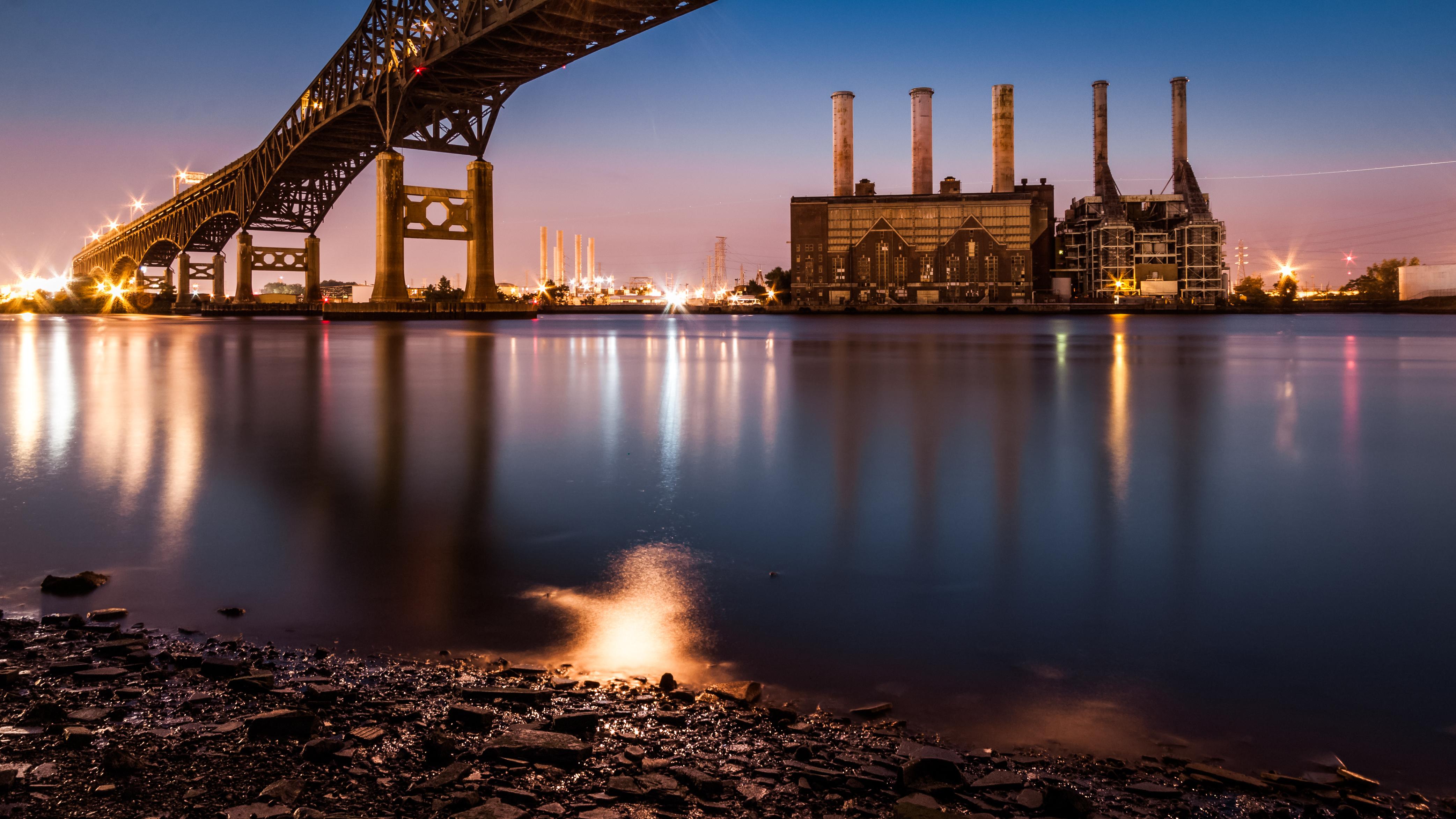 Kearny Power Station and Pulasky Skyway at dusk in NJ